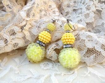 lemonade assemblage earrings yellow sunshine recycle upcycle