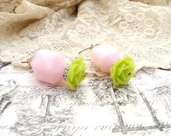 pink earrings assemblage flower recycled vintage jewelry beads romantic rose simple spring floral cottage chic