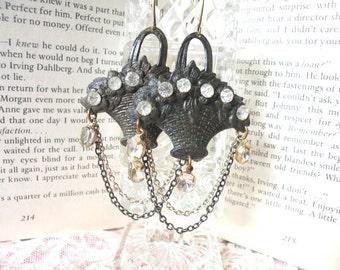 rustic basket earrings assemblage chains rhinestone