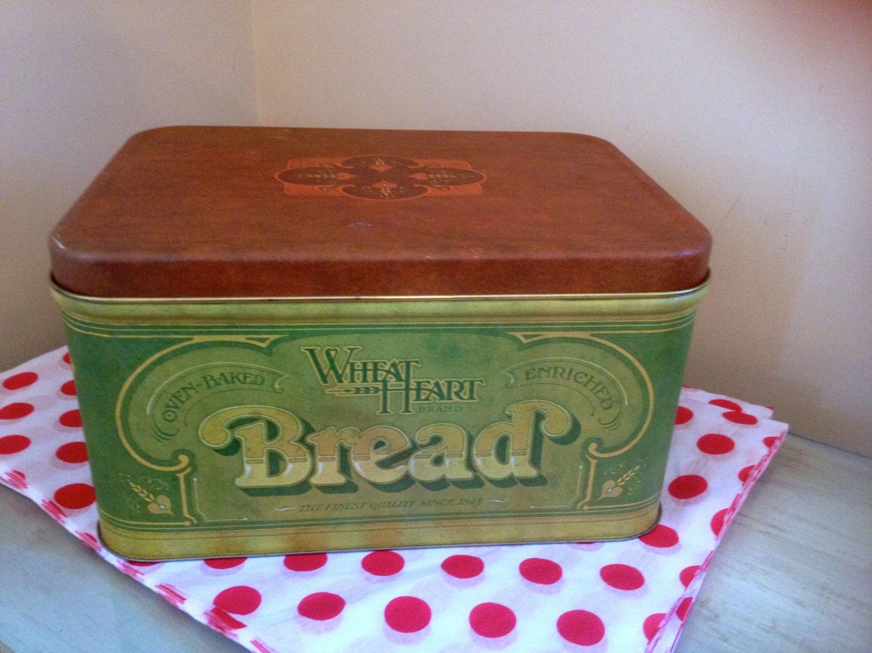 Vintage Metal Wheat Heart Bread Box