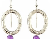Hammered Silver Earrings Oval Earrings with Amethyst Beads Hammered Sterling Hanging