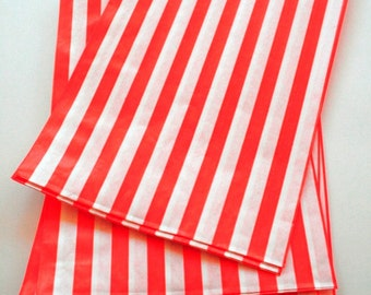 Set of 250 - Traditional Sweet Shop Red Candy Stripe Paper Bags - 5 x 7 - New Style
