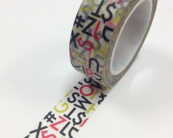 Washi Tape - 15mm - Text and Characters Red Chartreuse Black - Deco Paper Tape No. 638