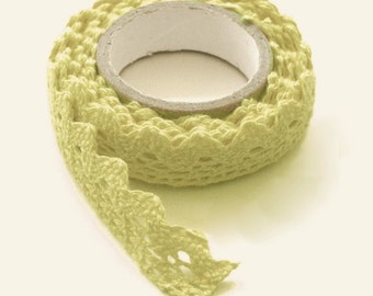 Soft Green Lace Adhesive Fabric Tape - Crochet - No. F115