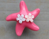 Pretty Star fish Drawer Knobs - Dresser pulls in Hot Pink with little flowers (RK03)
