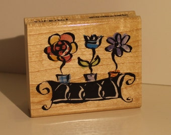 3 Flowers in a Bed Rubber Stamp
