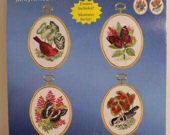 Nature's Glory 2 Birds and 2 Butterflies Embroidery Kit with frames