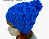 KNITTING PATTERN PDF - Blue Cable Slouchy Women's Hat Beanie , Teen- Can sell finished items - Instant Download , chunky knit, quick knit