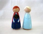 "3""H Frozen Anna and Elsa Peg Dolls"