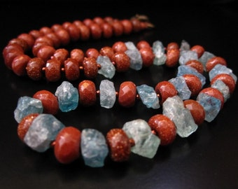 Apatite Goldstone Necklace, Apatite Rough Chips and Faceted Goldstone Rondelles, Apatite Raw Stone, Goldstone Necklace, Apatite Necklace