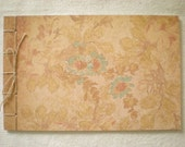 OOAK Hand Bound Journal - Blank Stab Stitch Journal in Antique Peach and Aqua Flower Pattern