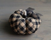 Rustic Black and Tan Plaid Cotton Pumpkin Pincushion