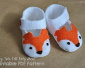 Woodland Fox Baby Shoe Pattern * Felt Baby Shoes Sewing Pattern * Mary Jane Style Baby Shoe With Cute Fox Faces