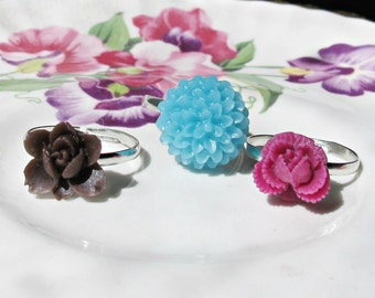 SALE Girl's Children Ring Set Flower Trio Aqua Burgundy Brown Girls Party Favour Botanical Floral Chocolate Blue Party Favor Jewellery