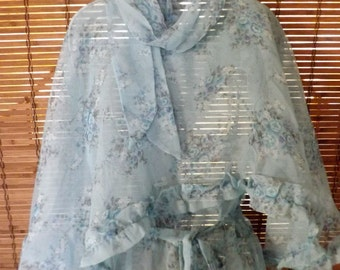 Vintage 70s Boho Sheer Floral Sky Blue Maxi Dress with Ruffled Shawl and scarf S  Free Shipping