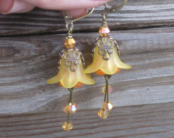 Vintaj Honey and Orange Lily Flower Earrings
