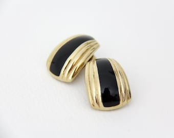 Vintage gold and black clip on statement earrings