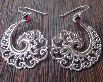 Bali Sterling Silver Earrings / silver 925 garnet / Balinese handmade jewelry / floral design / 2.15 inches long
