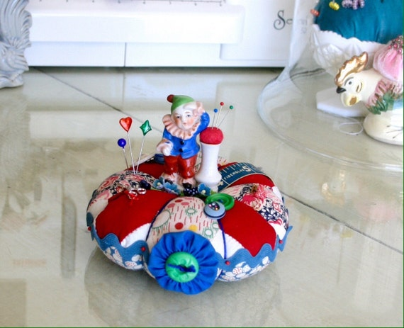 Vintage Occupied Japan Clown Figurine Handmade Pincushion