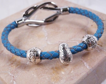 Bracelet, 7.25in, Braided Leather, Blue, Matryoshka Doll  4835