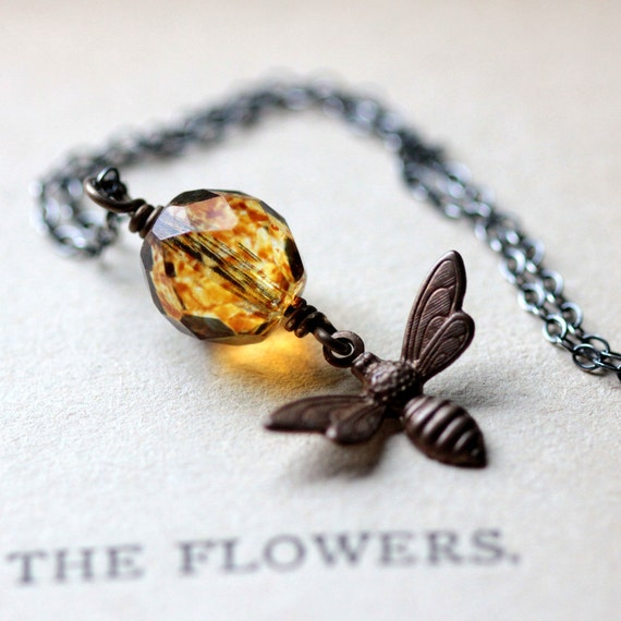 Honey Bee Charm Necklace with Amber Glass Bead and Brass Bee Charm on Sterling Silver Chain - Summer Fashion Garden Bug