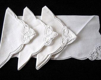 NAPKINS Replacement UNUSED Napkin Set 4 White Battenberg Tape Lace NEW