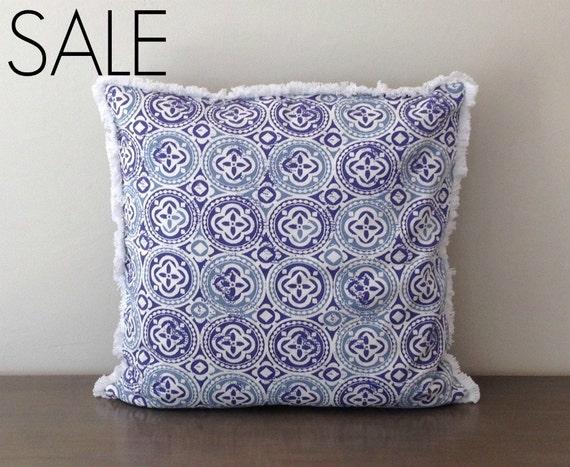 "SALE Moroccan Design Blue and White Cotton Print 20"" x 20""  (51 cm) Pillow Cover"