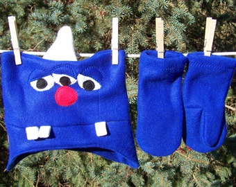 Monster Hat Bright Royal Blue Three Eyed One Horned Monster Fleece Hat Toddler Kids Teen Adult with Matching Mittens