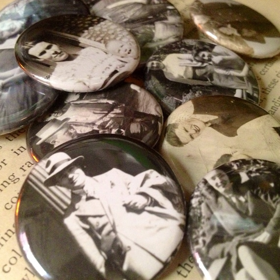 Vintage Photo Pinback Buttons - Antique Nostalgic Pin Pack - Black and White Photograph Badge - Romantic Whimsical Shabby Salvage Upcycled