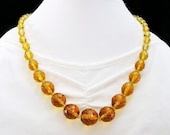 Art Deco Topaz Fully Faceted Glass Bead Necklace
