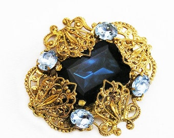 Austria Dark Sapphire Blue Glass Filigree Brooch