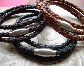 Mens Triple Wrap Stainless Steel Magnetic Clasp Leather Bracelet, Mens Bracelet, Mens Jewelry
