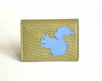 Vegan Leather Wallet / Card Case - Periwinkle Blue Squirrel on Sage Green Vegan Leather