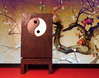 Oriental furniture, wooden cabinet with Yin Yang symbol, 1/12 miniature for dollhouses
