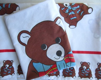 Vintage Teddy Bear Twin Flat Sheet and Pillow Case Cannon Royal Family Novelty Child Linen