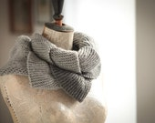 Curly Gray Scarf-Handmade knitting scarf-Gray skies- Dark Gray Light Gray--- unisex-gift for her and him