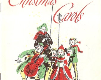 """1950's Christmas Carols booklet holiday songs, singing, music, songs, Richfield Company 14 pages songs 5"""" x 8"""" booklet  Illustrated"""