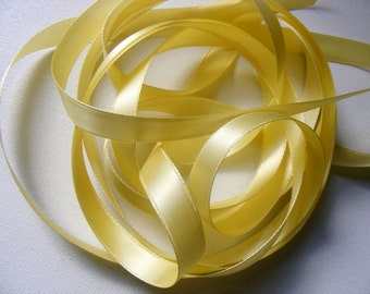 Vintage 1930's-40's French Double Face Satin -Milliners Stock- 1/2 inch Gorgeous Yellow