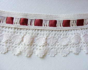 Vintage 1940's-50's Ecru Crochet Trim  2 1/2 Inch with Brick Rose Ribbon