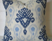 "Beautiful blue 22 "" Last two available! ikat accent pillow cover throw pillow designer pillow"