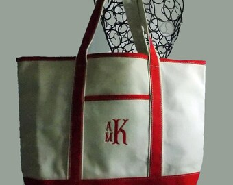 Extra Large Personalized Heavy Duty Canvas Boat/Beach Boat Bag Tote In Natural With Red Trim