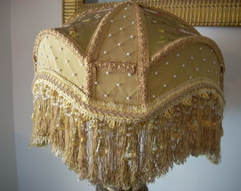 Hand made Victorian lamp shade, gold/yellow tones (Tracy Shade)
