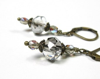 Victorian Style Platinum Ice Czech Glass Dangle Earrings, Sparkling Earrings, Womens Fashion Accessories, Jewellery Gift Ideas for Her
