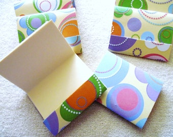 8 - Matchbook Notepads - Multi Color Bubbles- 12 - 3 x 4 inch fold over sheets -