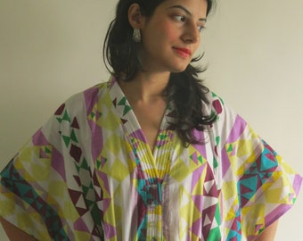 Tiny Triangles Geometric White Yellow Nursing Maternity Hosptial Gown Delivery Kaftan loungewear, getting ready, gift for moms n to be moms