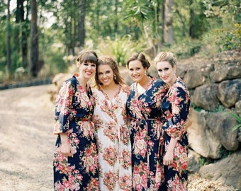 Dark Blue Bridesmaids robes Kimono Crossover Robes Spa Wrap Perfect bridesmaids gift, getting ready robes Bridal shower party wedding favors