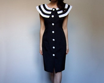 Black White Dress Vintage 80s Striped Collar Button Up Sleeveless 1980s Party Dress - Large L