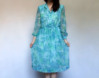 70s Floral Day Dress Blue Sheer Long Sleeve Summer Dress - Large L