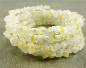 Flower Power Bracelet White Millefiori Glass Chip Coiled Memory Wire Yellow Accent