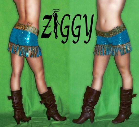 Custom Sequined Fringed Shorts